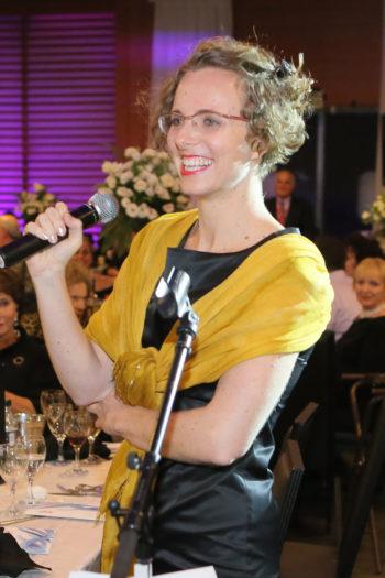 Hannah Pollin-Galay presenting a $10 million gift to Hadassah on behalf of her grandmother, Irene Pollin, at Hadassah's 100th anniversary convention in Jerusalem, Oct. 17, 2012.  (Courtesy of Hadassah)