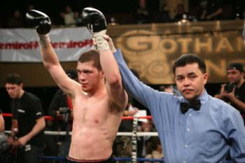 Dmitriy Salita raises his arms in victory after his fifth-round TKO of Fabian Luque in New York City in February 2008. (Alex Gorokhov)