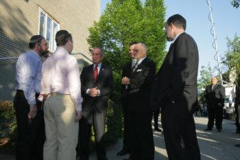 New York Mayor Michael Bloomberg, third from left, and Police Commissioner Ray Kelly, second from right, visit the Riverdale Jewish Center, one of two Bronx synagogues targeted in a foiled bombing plot, on May 21, 2009. ((Ed Reed/Office of the Mayor))
