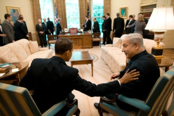 President Barack Obama and Israeli Prime Minister Benjamin Netanyahu chat in the Oval Office on May 18, 2009. (Official White House Photo by Pete Souza)