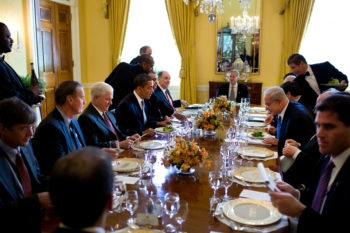 President Barack Obama and Israeli Prime Minister Benjamin Netanyahu at their working lunch in the Old Family Dining Room of the White House on May 18, 2009. (Official White House Photo by Pete Souza)