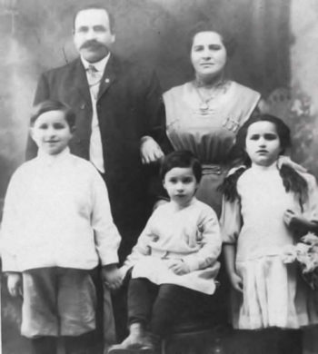 The maternal great-grandparents of genealogist Schelly Talalay Dardashti and their three oldest children in Newark, N.J., circa 1910. The family changed its name to Tollin from Talalay after immigration. (Courtesy Schelly Talalay Dardashti)