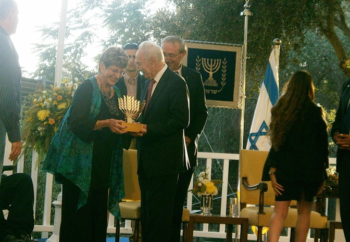 "Ada Aharoni receiving an award from Israeli President Shimon Peres in Jerusalem for her efforts to promote peace through literature, 2012.  (From ""The Golden Age of the Jews From Egypt,"" courtesy of Ada Aharoni)"