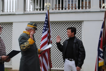 Arieh O'Sullivan takes the pledge to join the Sons of Confederate Veterans at a ceremony in Biloxi, Miss., Feb. 22, 2012. (Arieh O'Sullivan)