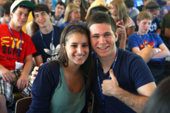 Two Jewish teenagers enjoying their time at the Perlman camp in Lake Pomo, Pa., 2012.  (Courtesy BBYO)