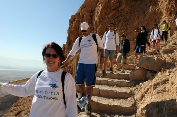 Birthright participants visiting Masada, summer 2012.  (Taglit-Birthright)