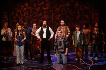 "The company of the off-Broadway musical ""Soul Doctor,"" about the life of Rabbi Shlomo Carlebach.  (Carol Rosegg)"