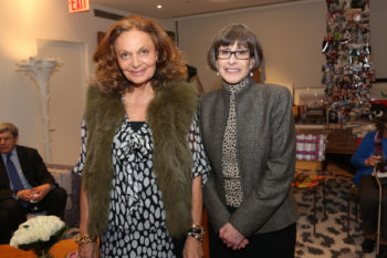 Diane Von Furstenberg, left, with Sara Bloomfield, the executive director of the U.S. Holocaust Memorial Museum, at an event in New York to celebrate the Washington museum's 20th anniversary, Feb. 26, 2013.  (Neilson Barnard)