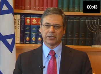 "Israeli Deputy Foreign Minister Danny Ayalon making his plea for a minute of silence at the London Olympics in the ""Just One Minute"" campaign video.  (Danny Ayalon Youtube Channel)"