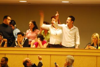Iranian President Mahmoud Ahmadinejad's speech at the Durban Conference on April 20, 2009 was interrupted several times by irate activists in the gallery. (Michael J. Jordan)