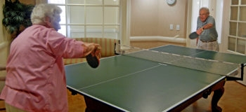 Eleanor Skolnick and Howard Woocher are avid ping pong players at MorseLife, a multifaceted Jewish retirement community in West Palm Beach, Fla.    (Courtesy MorseLife)