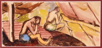 A scene from internment by Wolfgang Gerson, watercolor on toilet paper, from Camp N in Sherbrooke, Quebec, circa 1940-1942. Gerson gave lectures to fellow internees while interned in camps in Quebec and Ontario. He painted on whatever he could due to the scarcity of paper. (Courtesy the Gerson family / Photo by Jessica Bushey)