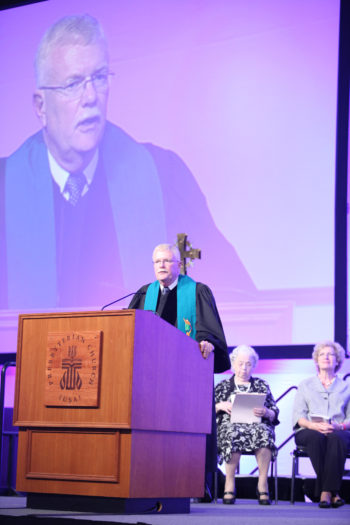 The Rev. Gradye Parsons, head of the Presbyterian Church (USA), seen here speaking at the church's General Assembly in Pittsburgh, Pa., in June 2012, was among the Protestant leaders who signed the letter to Congress on Israel aid.  (General Assembly of the Presbyterian Church)