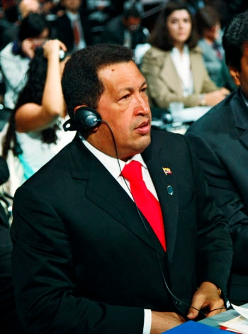Venezuelan President Hugo Chávez in Copenhagen attending the U.N. Conference on Climate Change, December 2009. (UN Photo/Mark Garten)