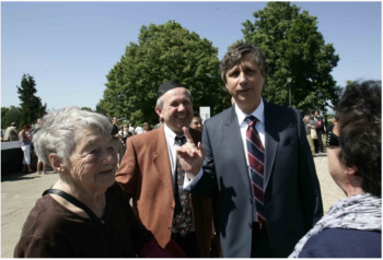Jewish Czech presidential candidate Jan Fischer, right, attending the Terezin memorial ceremonies to honor the victims of Nazi persecution, May 2012. (Courtesy Jan Fischer campaign)