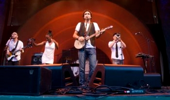 DeLeon, an Indie rock band shown performing in the summer of 2008 at Celebrate Brooklyn, features music with 15th-century Spanish influences. (Jori Klein)