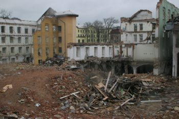 The lower part of the Schindler factory next to a demolished 19th-century building. (Lubomir Zmelik)