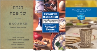 From left to right, the changing look of the Maxwell House Passover Haggadah: the original from 1934, the most recent photo collage and the newest version out this spring.  (Joseph Jacobs Advertising)