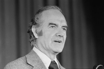 Sen. George McGovern speaking during his presidential campaign, June 1972.  (Warren K Leffler via Lib. of Congress)