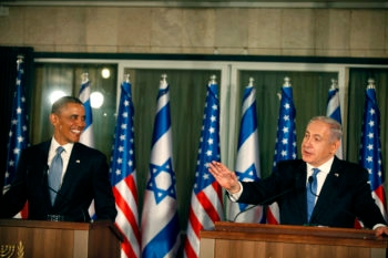 President Obama and Prime Minister Benjamin Netanyahu speaking at a news conference in Jerusalem, March 20, 2013. (Lior Mizrahi/Getty)
