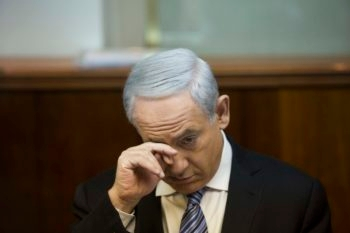 Israeli Prime Minister Benjamin Netanyahu, shown at a Cabinet meeting in his Jerusalem office on March 3, 2013 -- less than two weeks before his final deadline to assemble a government.  (Yonatan Sindel/Flash90/JTA)