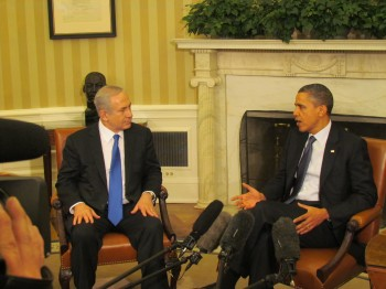 Israeli Prime Minister Benjamin Netanyahu and President Obama meeting in the White House Oval Office to talk about Iran and other issues, March 5, 2012. (Ron Kampeas)