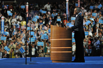 President Obama speaking at the final night of the Democratic National Convention in Charlotte, N.C., Sept. 6, 2012. (Donna Bise via https://www.flickr.com/photos/demconvention)