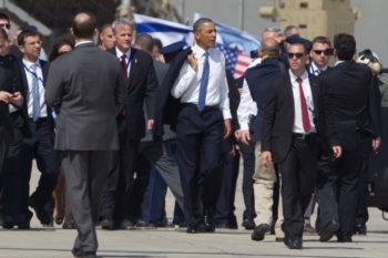 President Obama walking on the Ben Gurion International Airport tarmac, March 20, 2013. (Uriel Sinai/Getty)