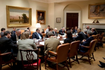 President Obama meets with Jewish community leaders in the Roosevelt Room of the White House on July 13, 2009. (White House)