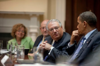 "Presidents Conference chairman Alan Solow, at a meeting of Jewish community leaders with President Obama in the White House on July 13, 2009, said the president ""had to work harder to correct"" a perception that the United States was exerting more pressure on Israel. (White House)"