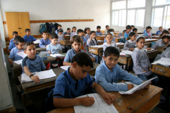 Palestinian schoolchildren studying at the UNRWA Gaza Elementary School in Gaza City, 2010.  (IRIN/Creative Commons)