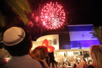 Israelis watch fireworks in celebration of Israel's 63rd Independence Day in Ashkelon on May 9, 2011. (Kobi Gideon/Flash90)