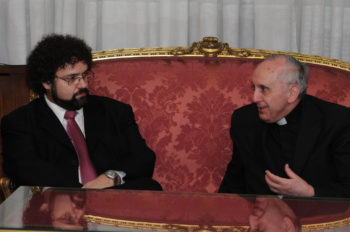 Pope Francis I, right, was the archbishop of Buenos Aires when he met with Claudio Epelman, executive director of the Latin American Jewish Congress, in Buenos Aires in 2012. (Courtesy Latin American Jewish Conference )