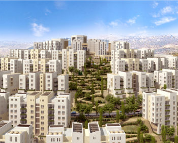 An architectural image of Rawabi, the first planned Palestinian town, which developers hope to start building soon. (Bayti Real Estate Investment Company)