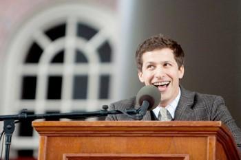 Andy Samberg speaking at the Harvard University Class Day ceremony, May 23, 2012.  (Courtesy Harvard University)