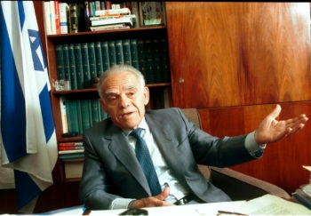 Israeli Prime Minister Yitzhak Shamir in his office in Jerusalem in 1992, one week before he lost the elections to the Labor's Yitzhak Rabin. (Flash90)  (Flash90)