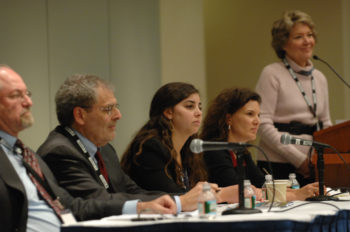 """Simone Zimmerman, center, speaking at the J Street conference in Washington on a panel titled """"Who's Afraid of BDS,"""" Feb. 28, 2011. Pictured are, left to right, Ken Bob of Ameinu, Hebrew University Professor Bernard Avishai, Zimmerman, Rebecca Vilkomerson of Jewish Voice for Peace and moderator Kathleen Peratis. (J Street)"""