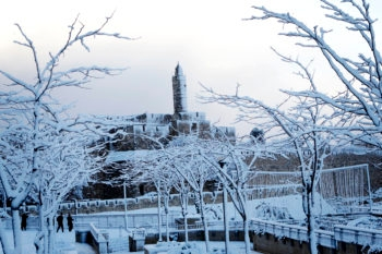 View of the Tower of David and the Old City walls in Jerusalem covered in snow, Jan 10, 2013.  (Mendy Hechtman/FLASH90/JTA)