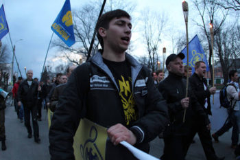 Svoboda supporters attending a party rally in western Ukraine, 2012.  (Svoboda.org.ua)