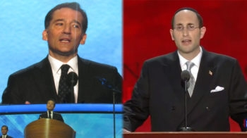 Rabbi David Wolpe, left, giving a benediction at the Democratic National Convention in Charlotte, N.C., Sept. 5, 2012; Rabbi Meir Soloveichik, right, delivering an invocation at the Republican National Convention in Tampa, Fla., Aug. 28, 2012. (Ron Kampeas/JTA and Republican National Convention)