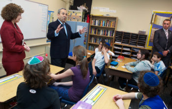 Israeli Defense Minister Ehud Barak speaking to students at the Jewish Primary Day School of the Nation's Capital in Washington, Dec. 15, 2011.  (JPDS-DC)