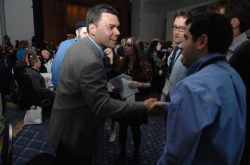 Peter Beinart, who called this week for a boycott of West Bank goods, meets students at the J Street national conference in February 2011. Beinart is due to keynote this year's conference by the liberal pro-Israel group at the end of the month. (J Street)