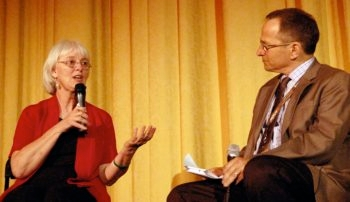 "Rachel Corrie's mother, Cindy, with Peter Stein following the San Francisco Jewish Film Festival screening of ""Rachel,"" July 25, 2009, spurred controversy with her appearance at the film's showing. (Stacey Palevsky / J. Weekly)"