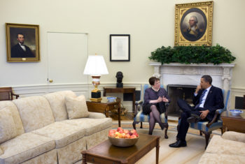 President Barack Obama meets with Solicitor General Elena Kagan in the Oval Office last month. (Official White House Photo by Pete Souza)