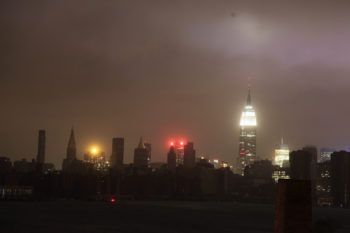 The Empire State Building remaining lit as Lower Manhattan became dark due to power outages following Hurricane Sandy, Oct. 29, 2012.  (Alexander Rea via Creative Commons)
