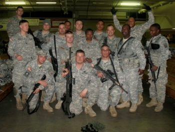 Ari Mandel, fourth from right, at Fort Bragg, N.C., before deploying for Haiti, January 2010. (Courtesy Ari Mandel)