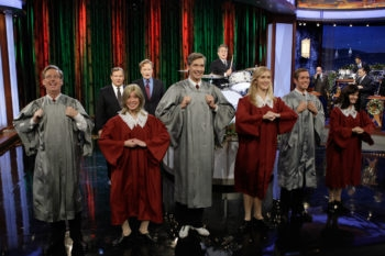 """Dancers perform on """"The Tonight Show"""" to a song for Mormons set to the tune of """"I Have A Little Dreidel,"""" Dec. 14, 2009. (NBC.com)"""