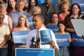 President Obama speaking at a campaign rally in Tampa, Fla., Oct. 25, 2012.  (Obama campaign)