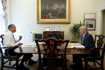 President Barack Obama lunches with Elie Wiesel in the Oval Office's private dining room, May 4, 2010. (Official White House Photo by Pete Souza)